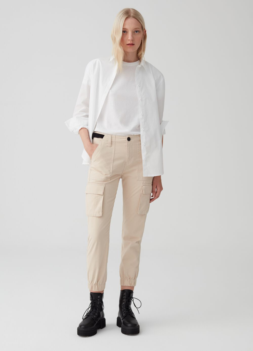 Cotton cargo trousers with inserts