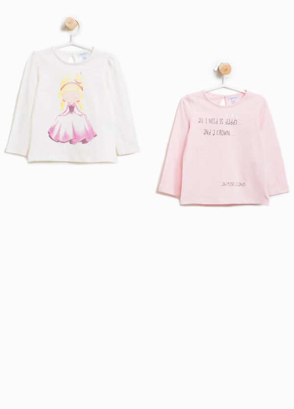 Two-pack cotton T-shirts with glitter print | OVS
