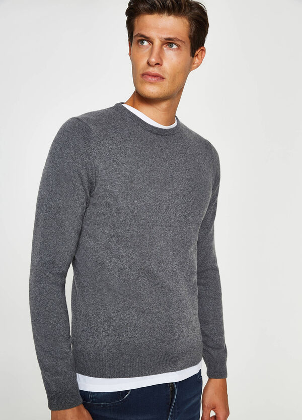 Silk and cashmere pullover with round neck