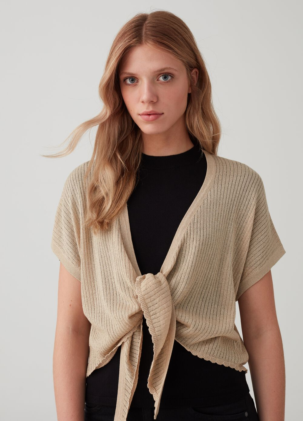 Lurex cardigan with kimono sleeves