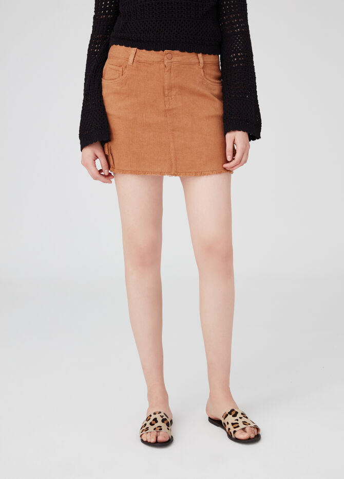 Earth Day mini skirt in lyocell blend with fringed edge