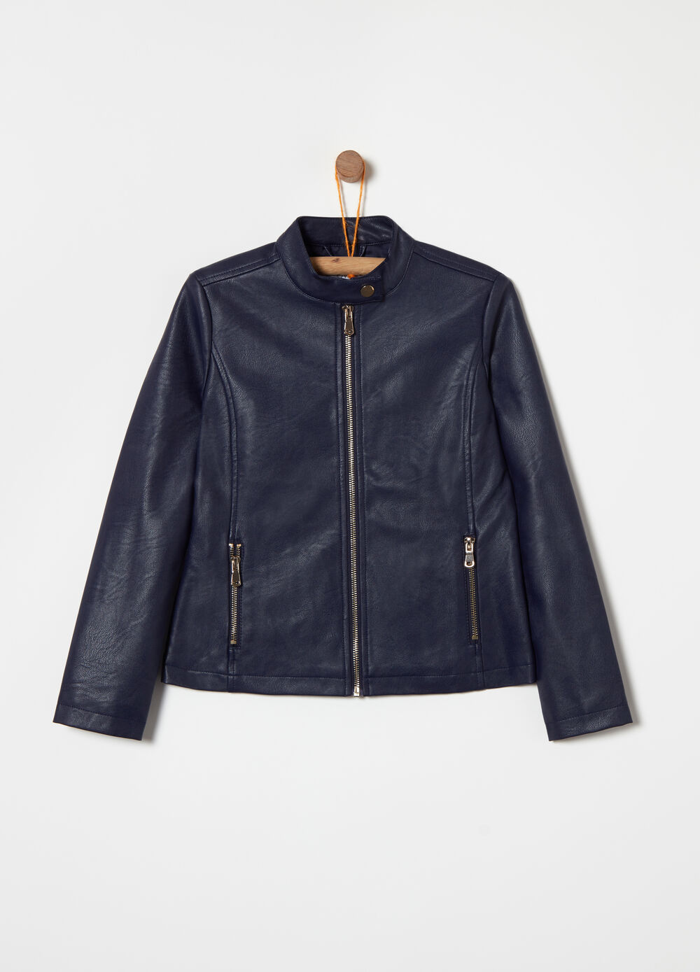 Leather-look padded biker jacket