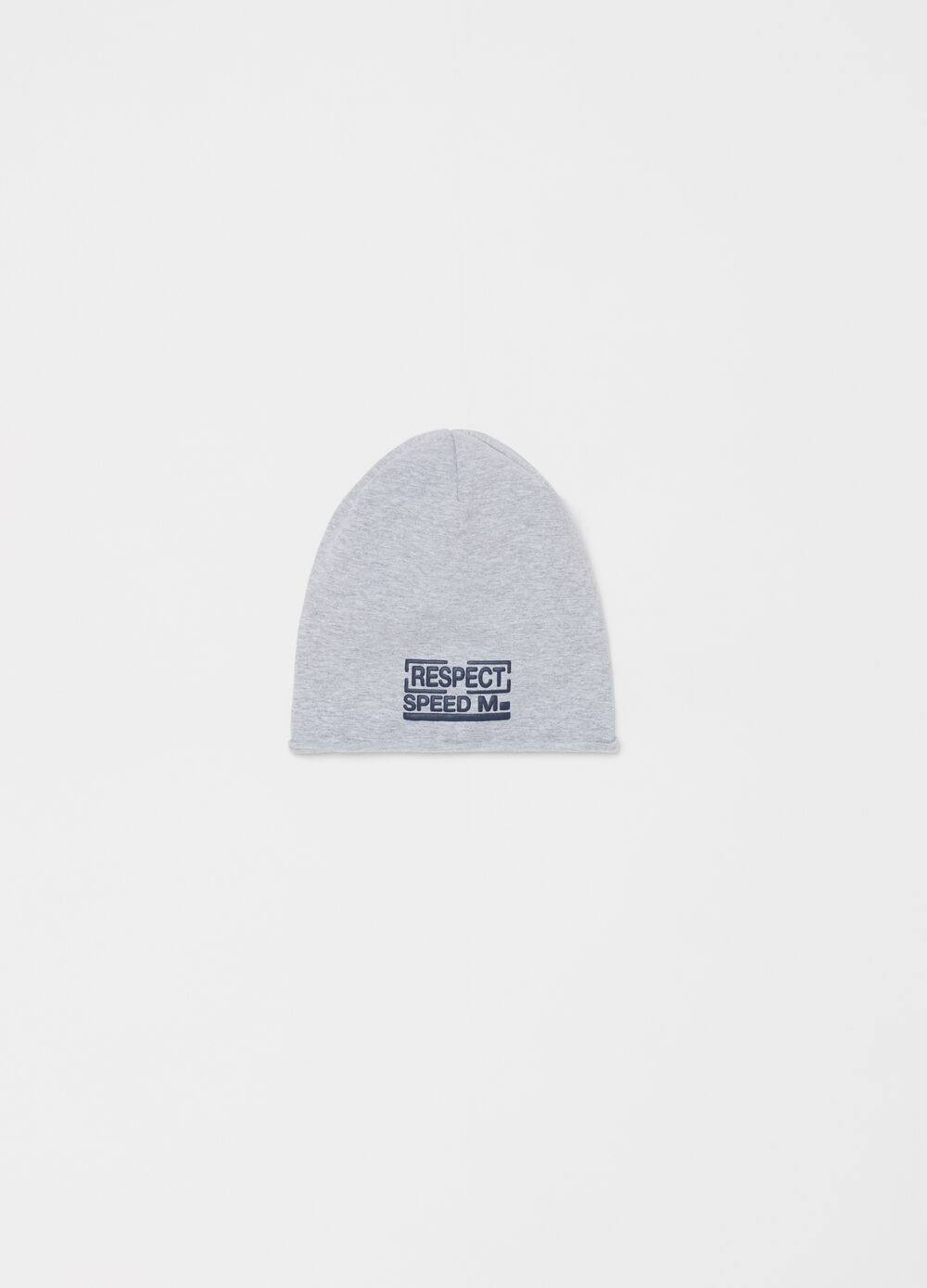 Cotton jersey beret with lettering print