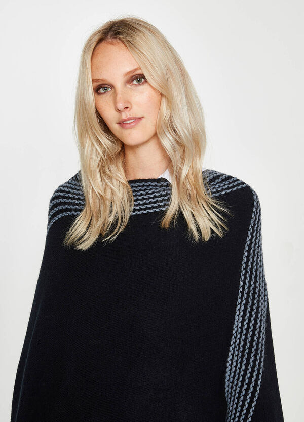 Poncho with embroidery and fringing | OVS