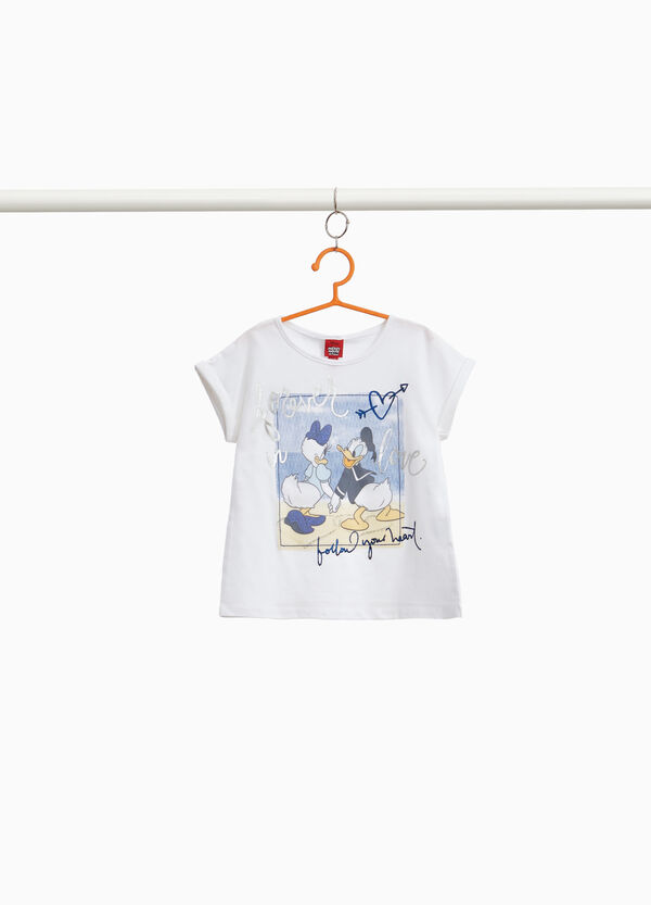 Stretch cotton T-shirt with Daisy and Daffy Duck
