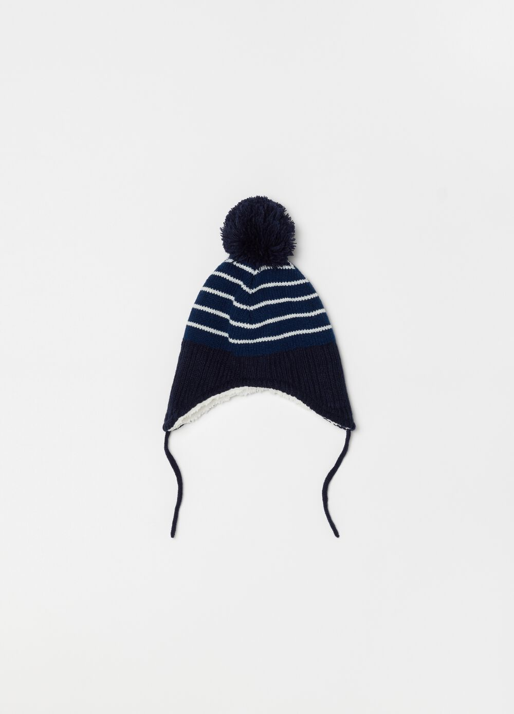 Knitted hat with stripes and pompom