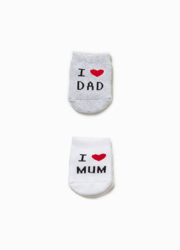 Two-pair pack short socks with embroidered lettering | OVS