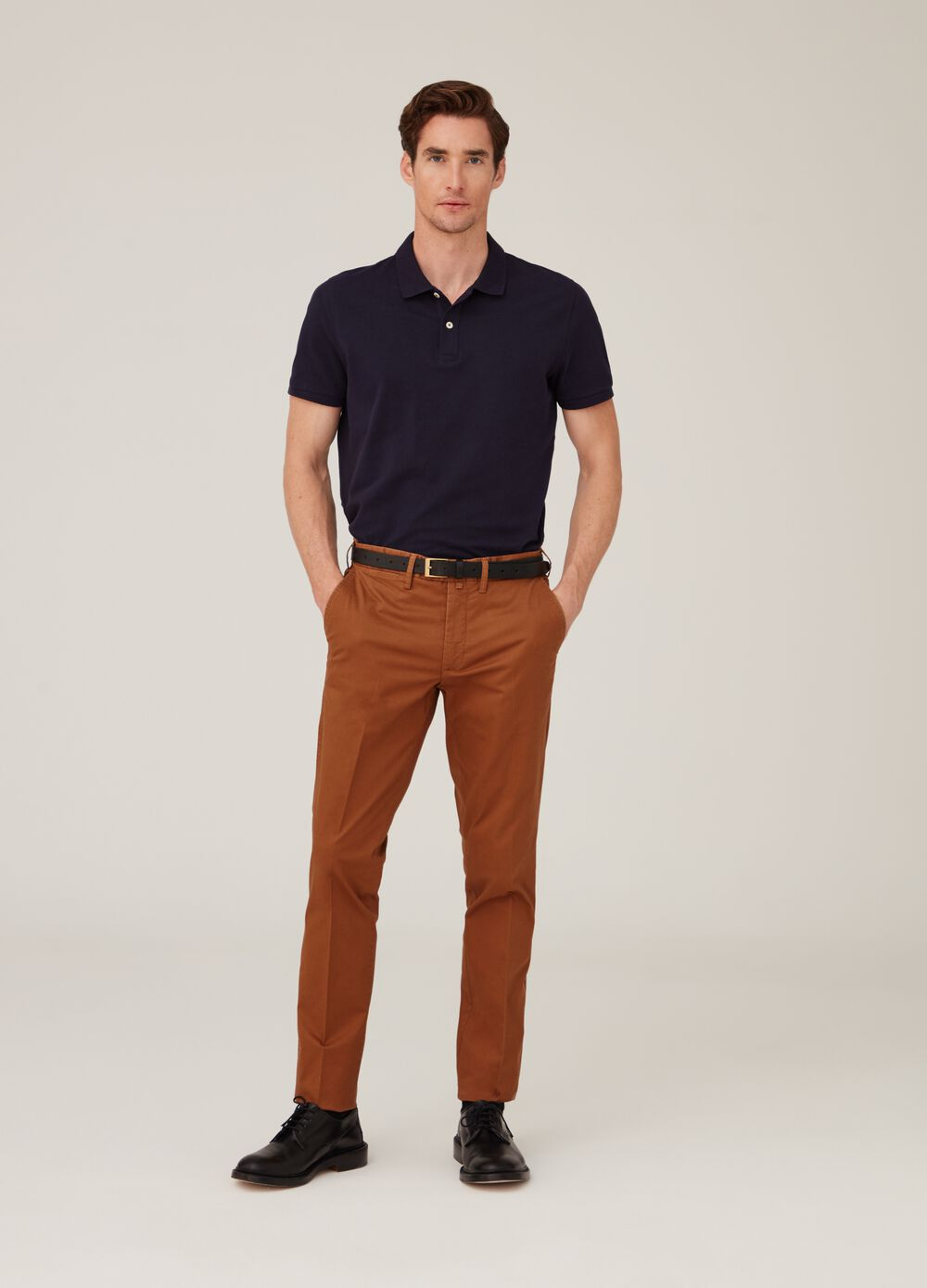 Stretch cotton trousers with crease
