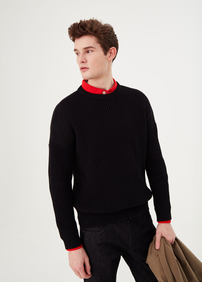 100% cotton pullover with striped weave