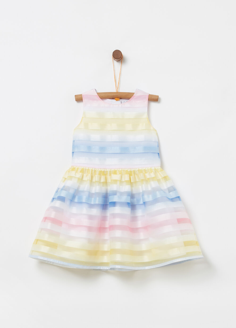 Sleeveless dress with multicoloured stripes