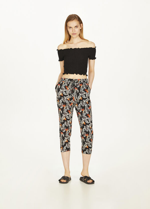 All-over floral crop trousers with viscose