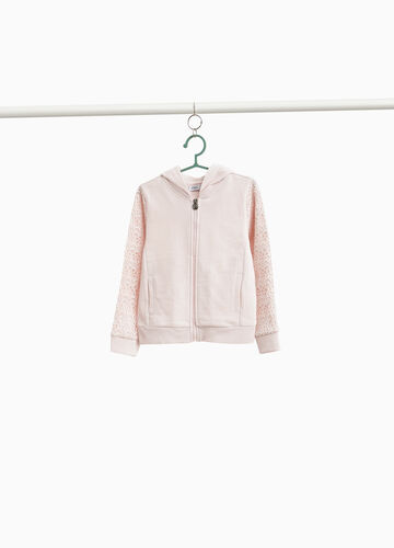 100% cotton sweatshirt with lace