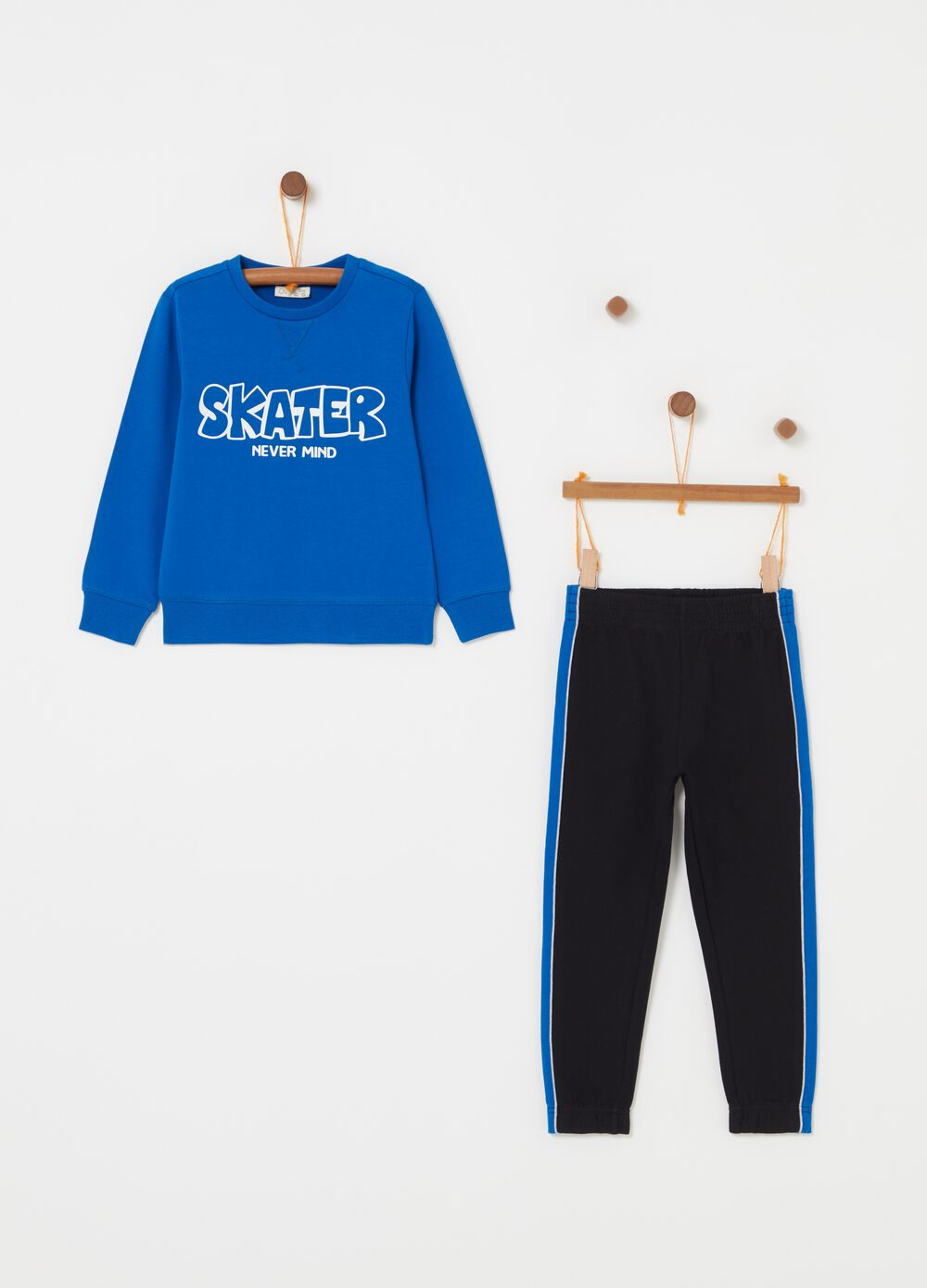 French terry jogging set with skate print