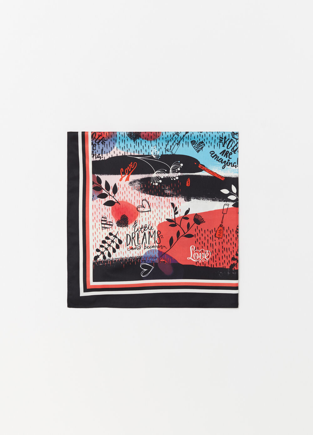 Satin foulard with Love Revolution print