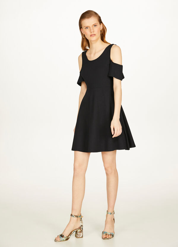 Stretch cotton dress with openings