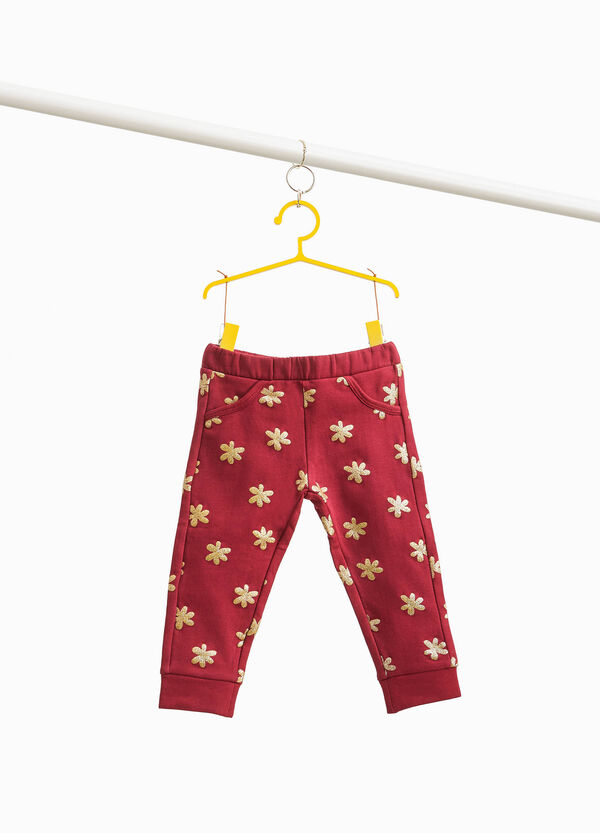Stretch cotton trousers with heart pattern
