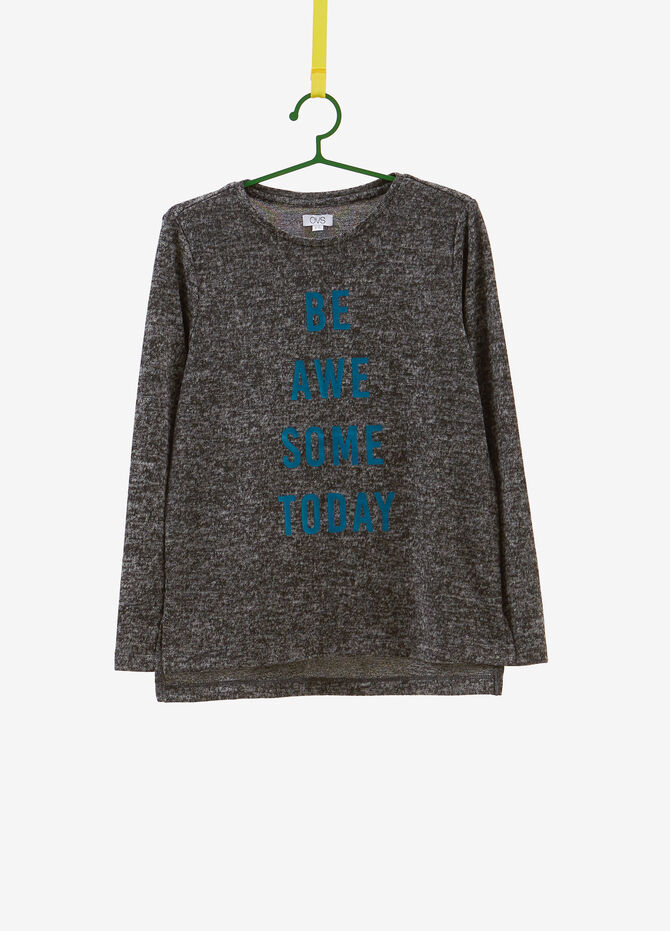 Mélange knitted pullover with print