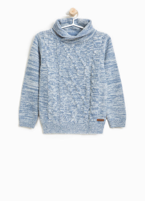 Knitted alpaca wool pullover with high neck | OVS