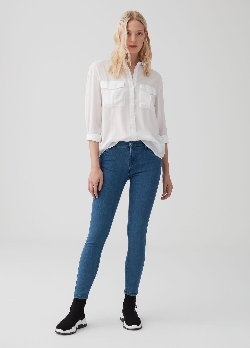 Skinny-fit stretch denim trousers