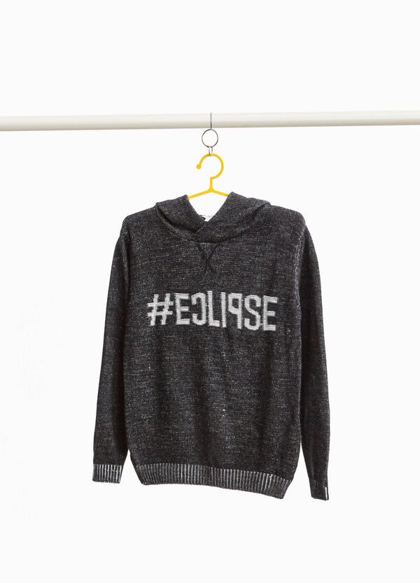 Mélange pullover with lettering print