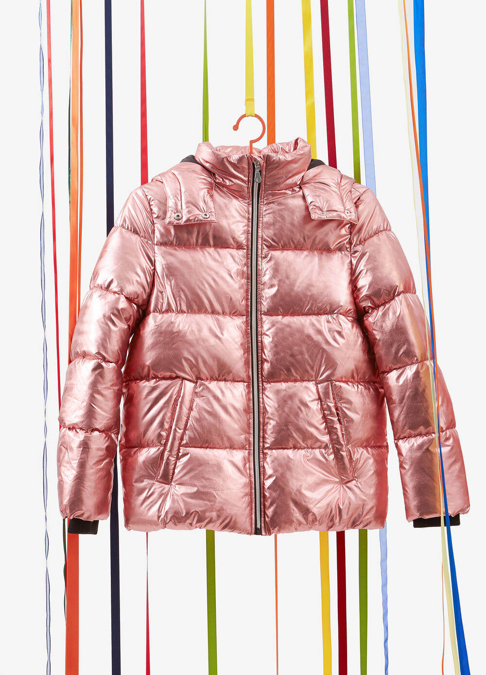 Quilted jacket with metallic effect