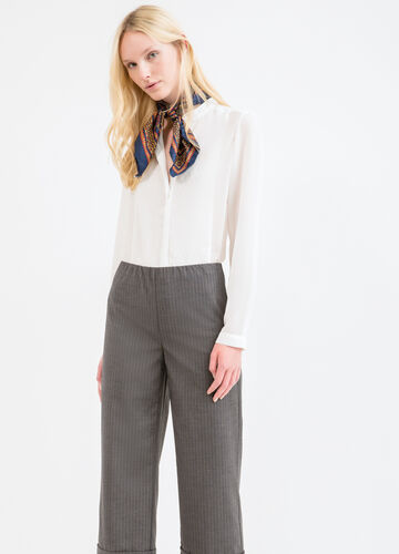 Stretch striped viscose trousers