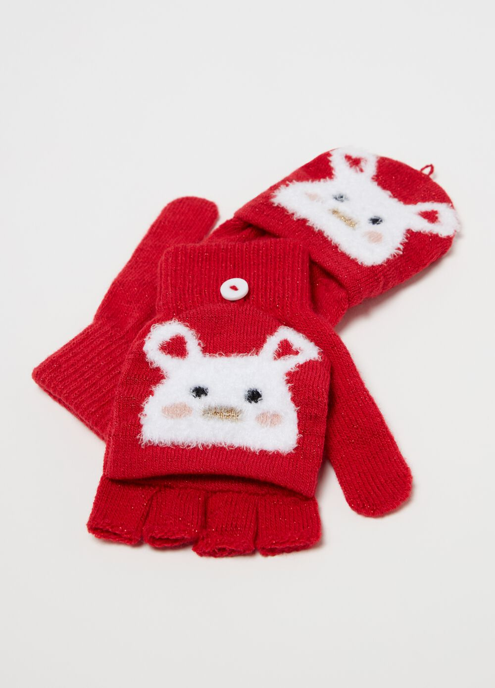Half-finger gloves with lurex and rabbit