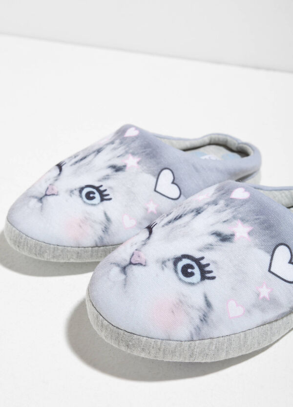 Canvas slippers with maxi cat print | OVS