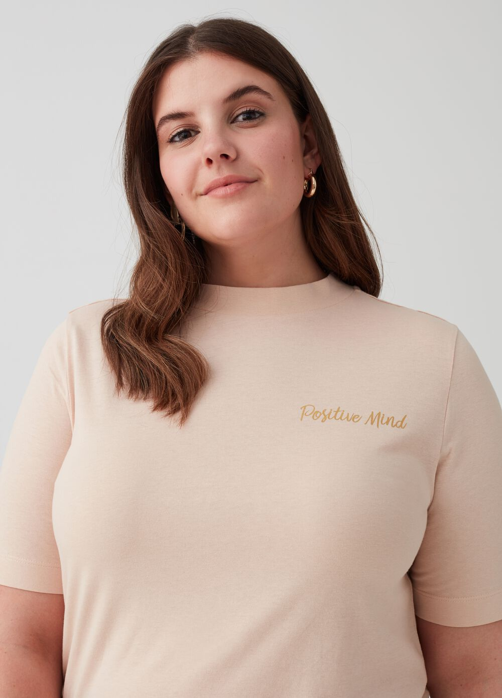 Curvy T-shirt in 100% cotton with print