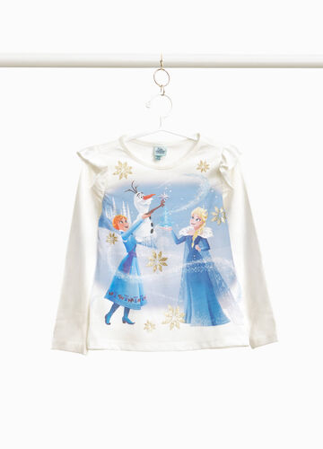 T-shirt in stretch cotton with Frozen flounce