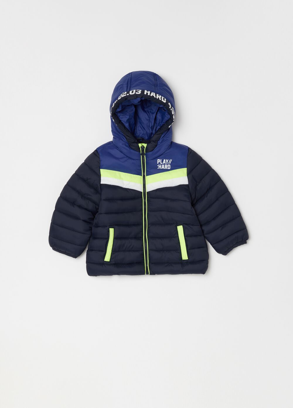 Padded and quilted jacket with print