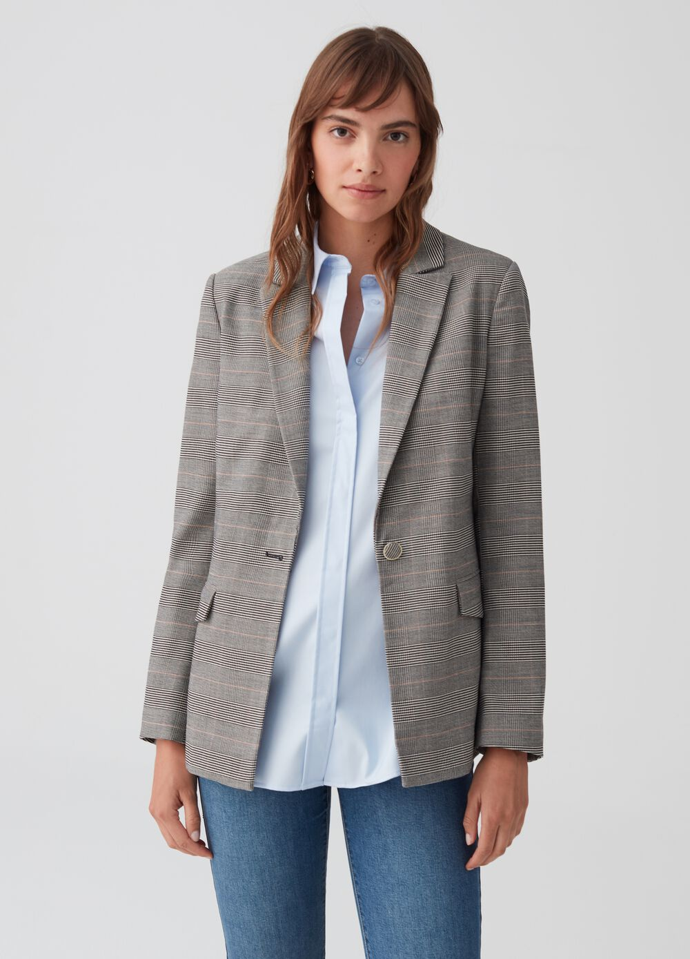 Stretch blazer with check belt