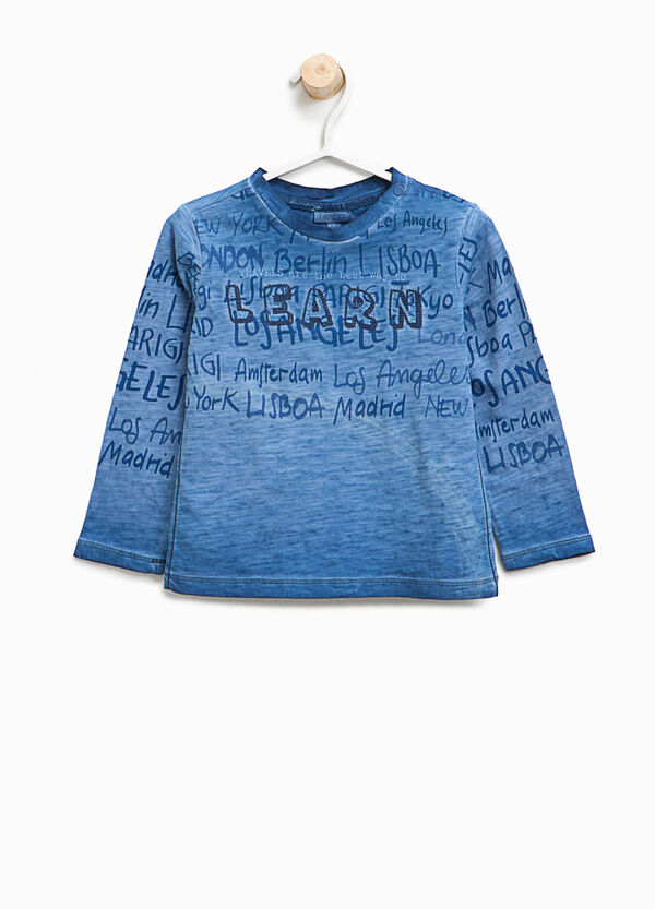 Mélange T-shirt with lettering print | OVS