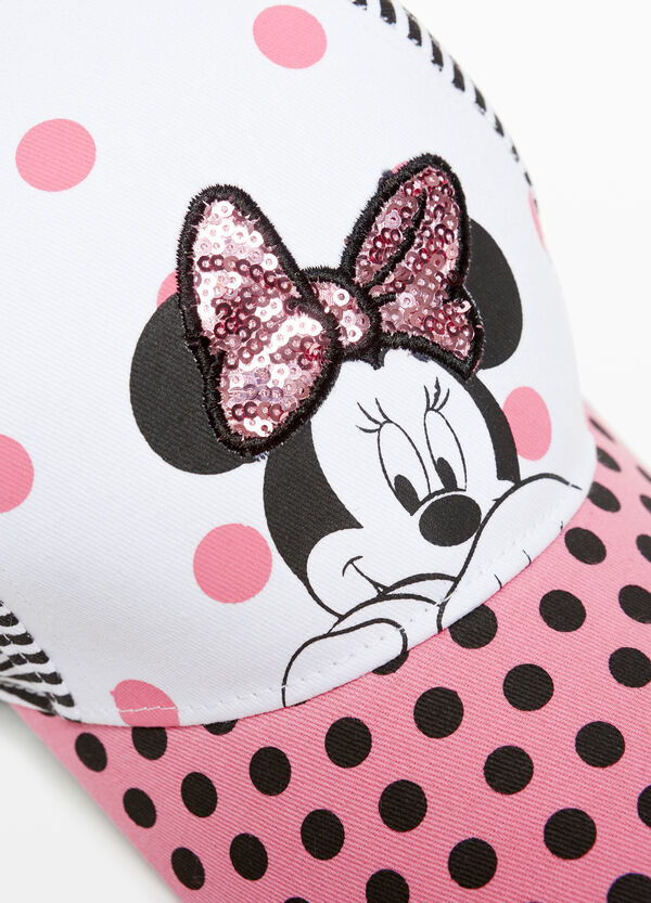 Minnie Mouse baseball cap with stripes and polka dots