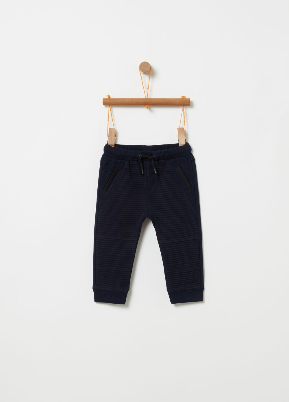 100% cotton trousers with ribbed weave