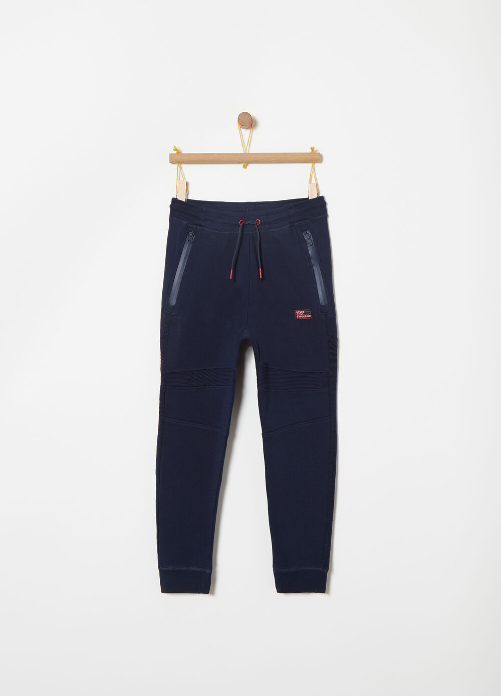 Heavy fleece trousers with ottoman inserts