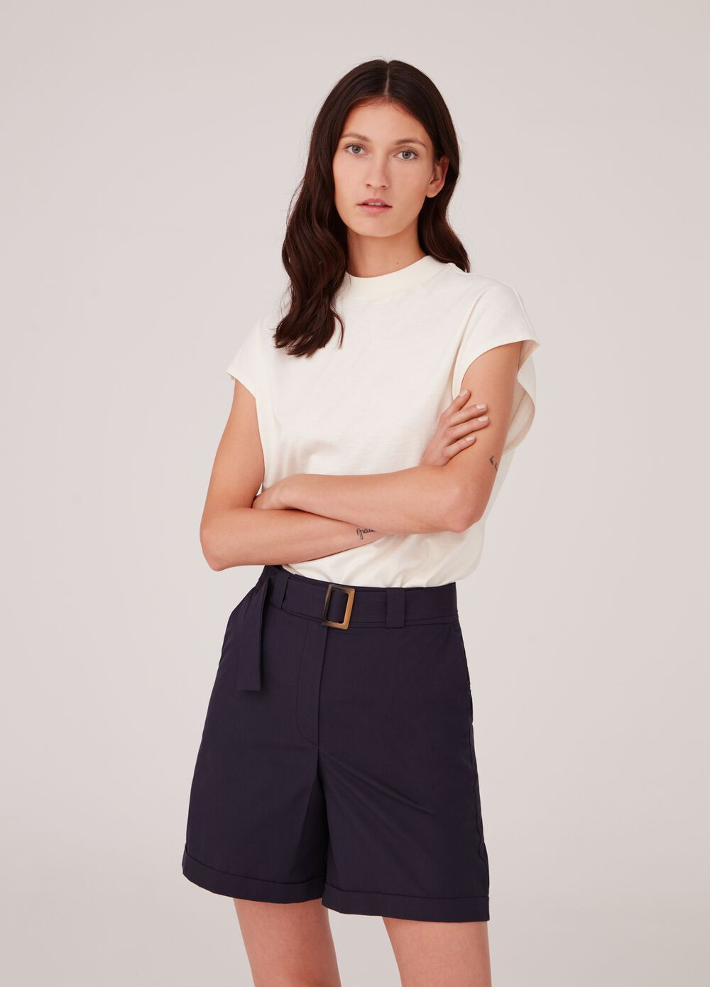 Stretch poplin shorts with pockets