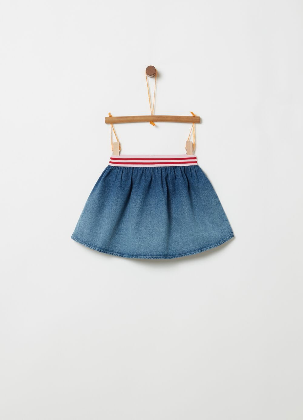 Short denim skirt with striped inserts