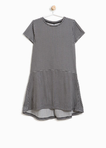 Stretch dress with micro check pattern