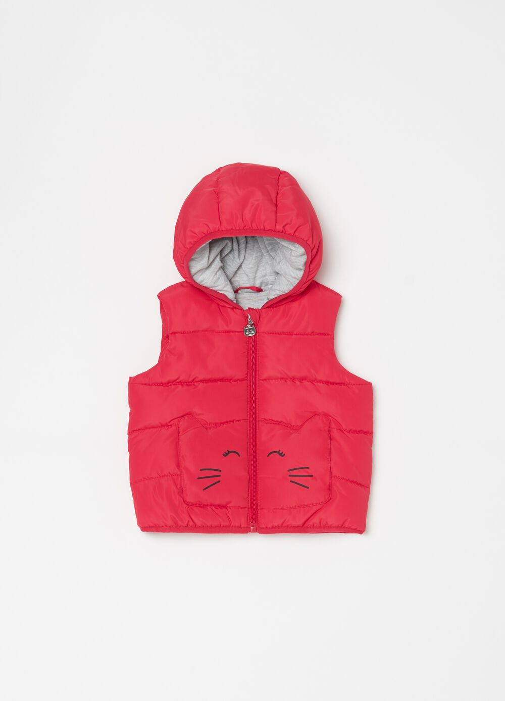 Quilted padded gilet with cat print
