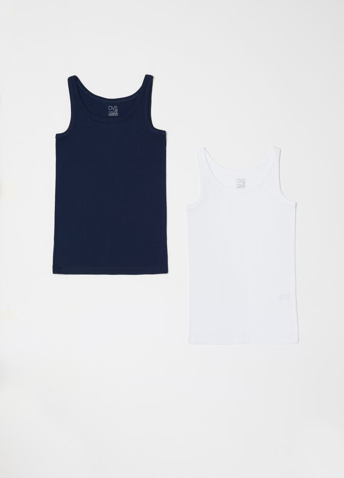 Set of biocotton vests with narrow straps