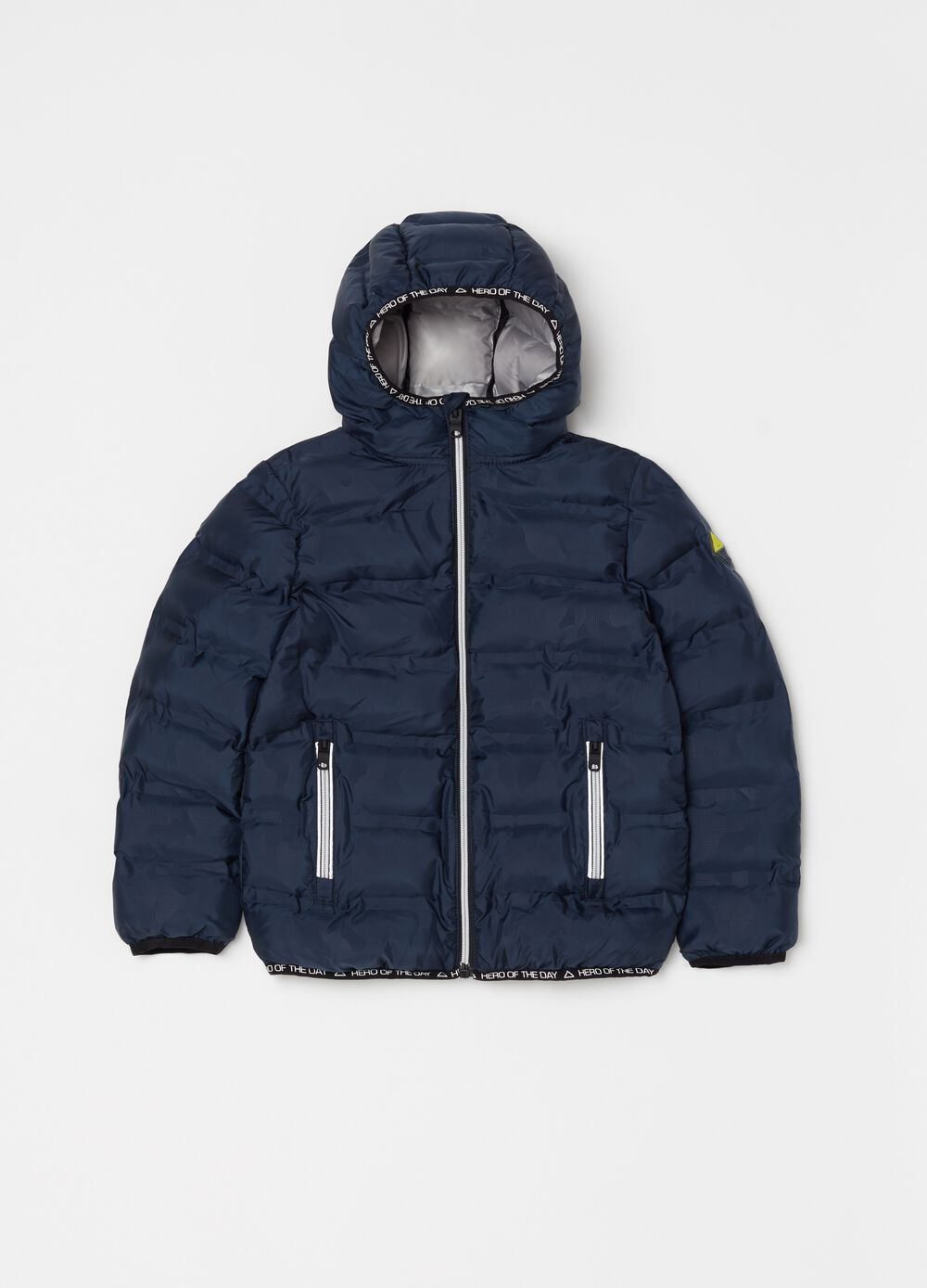 Solid colour padded and quilted bomber jacket