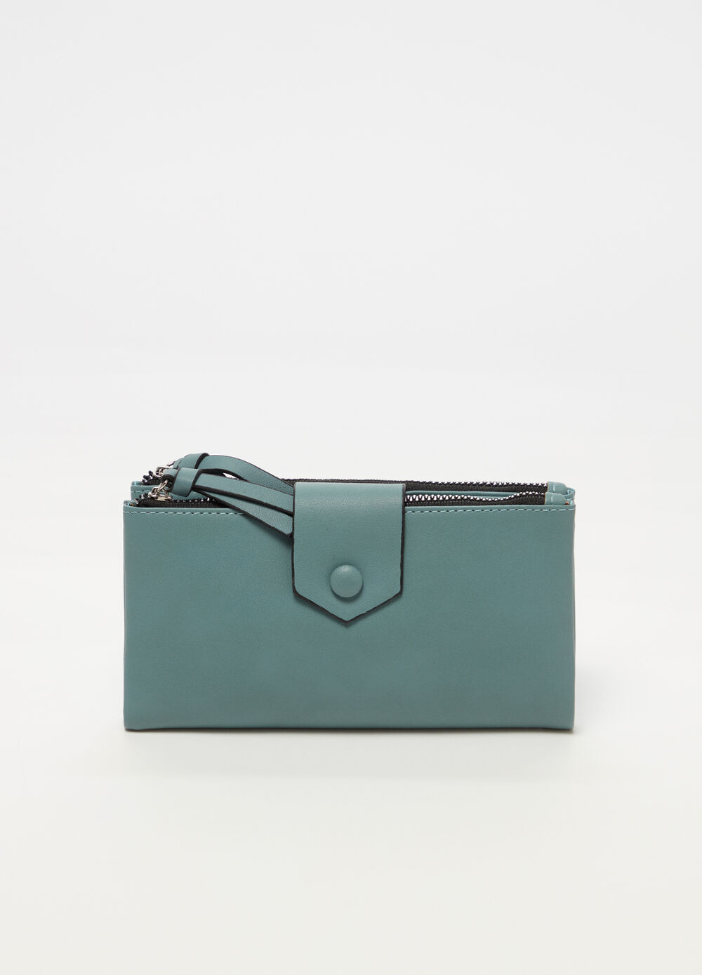 Wallet with double compartment and zip