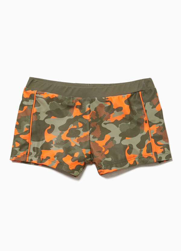 Swim boxer shorts with camouflage pattern