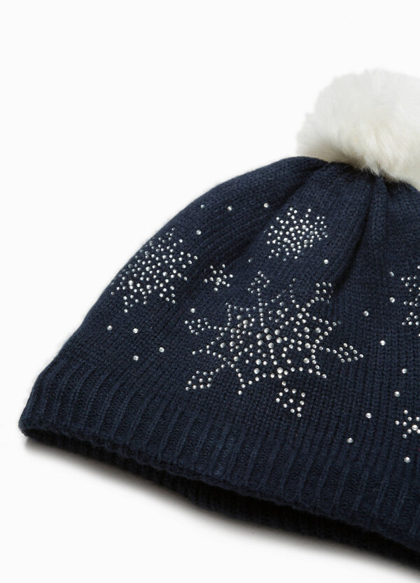 Knitted beanie cap with diamantés | OVS