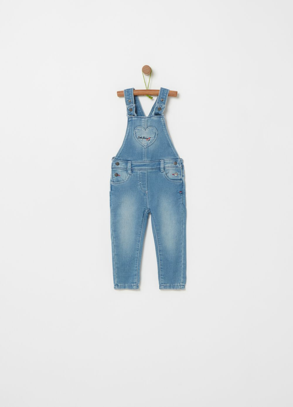 Stretch denim dungarees with embroidery
