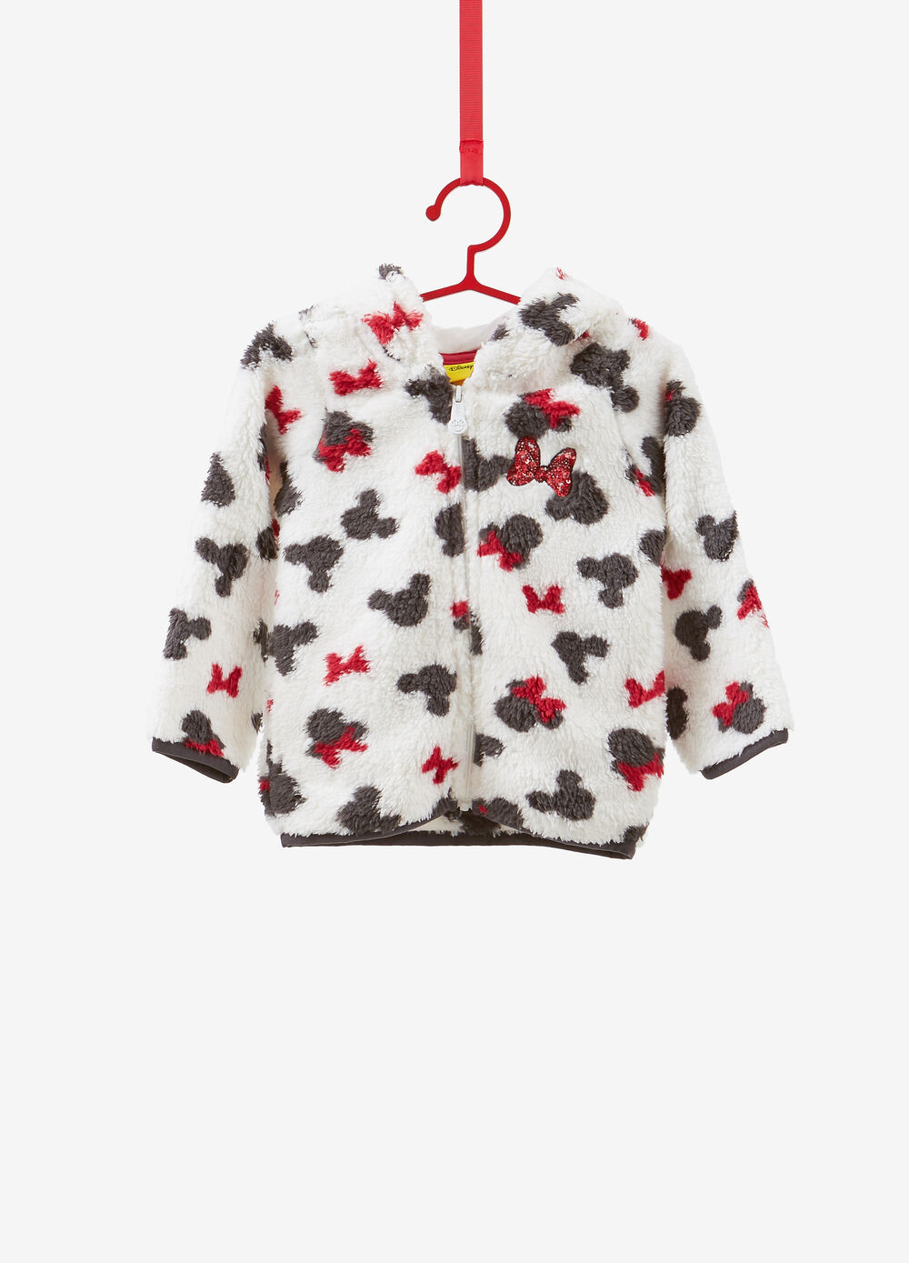 Faux fur effect sweatshirt with Minnie Mouse pattern