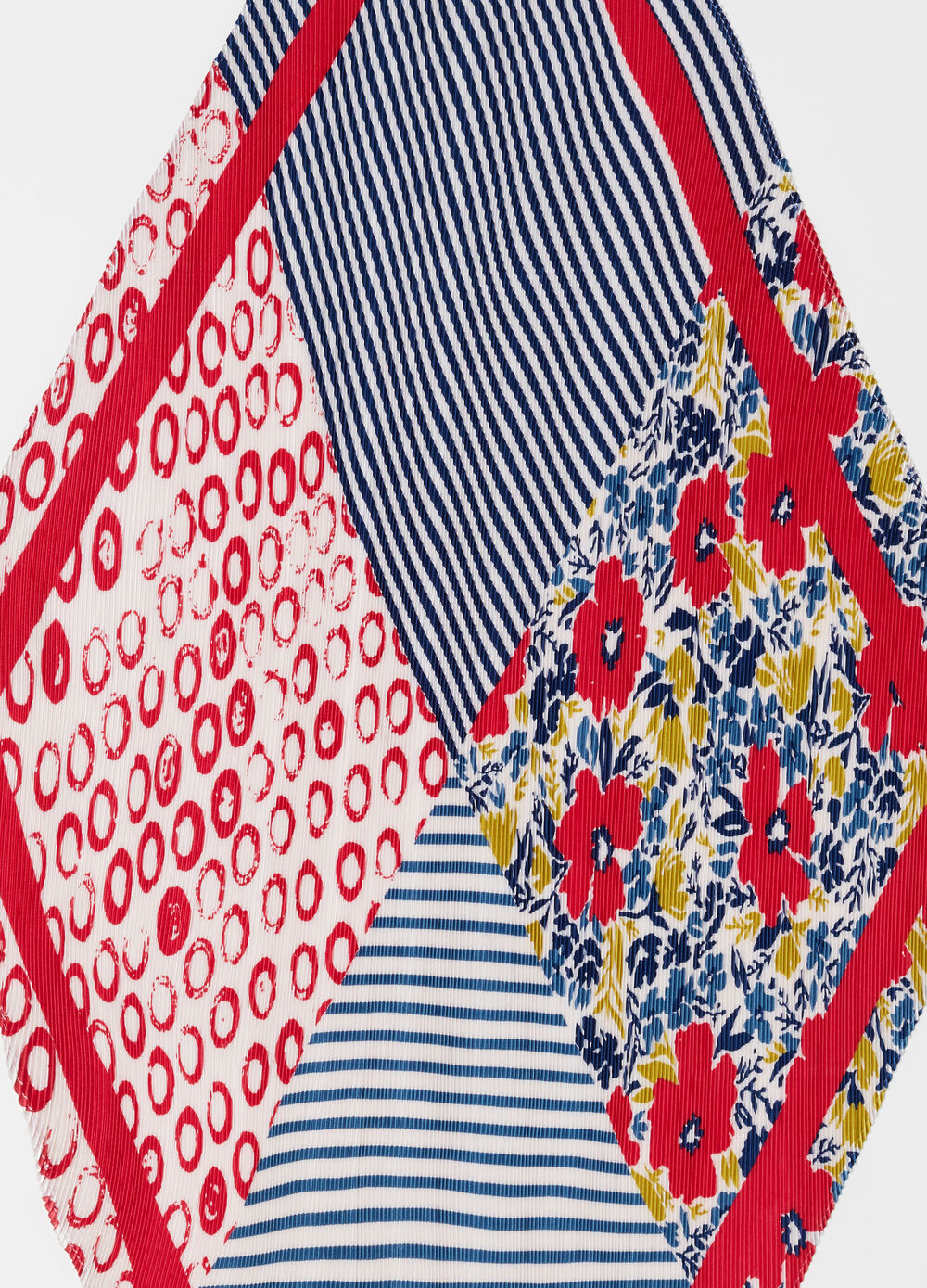 Pleated foulard with floral striped pattern