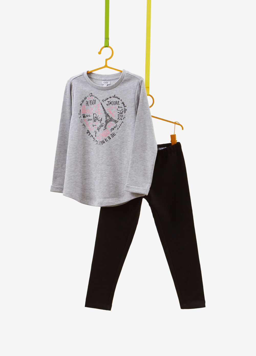 Tracksuit in cotton and viscose with glitter print