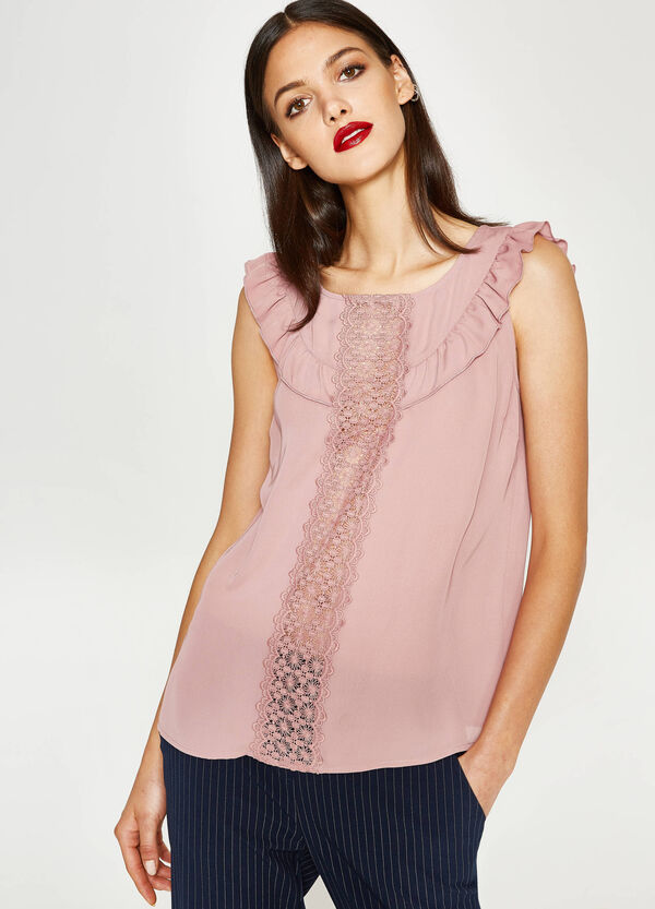 Top with lace and flounce | OVS